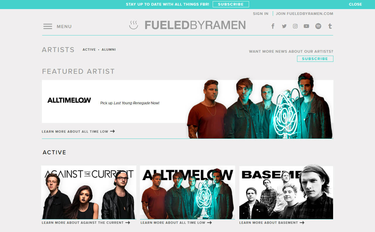 Fueled By Ramen Official WebsiteのWEBデザイン