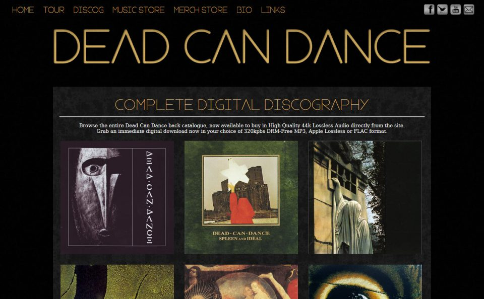 Dead Can DanceのWEBデザイン