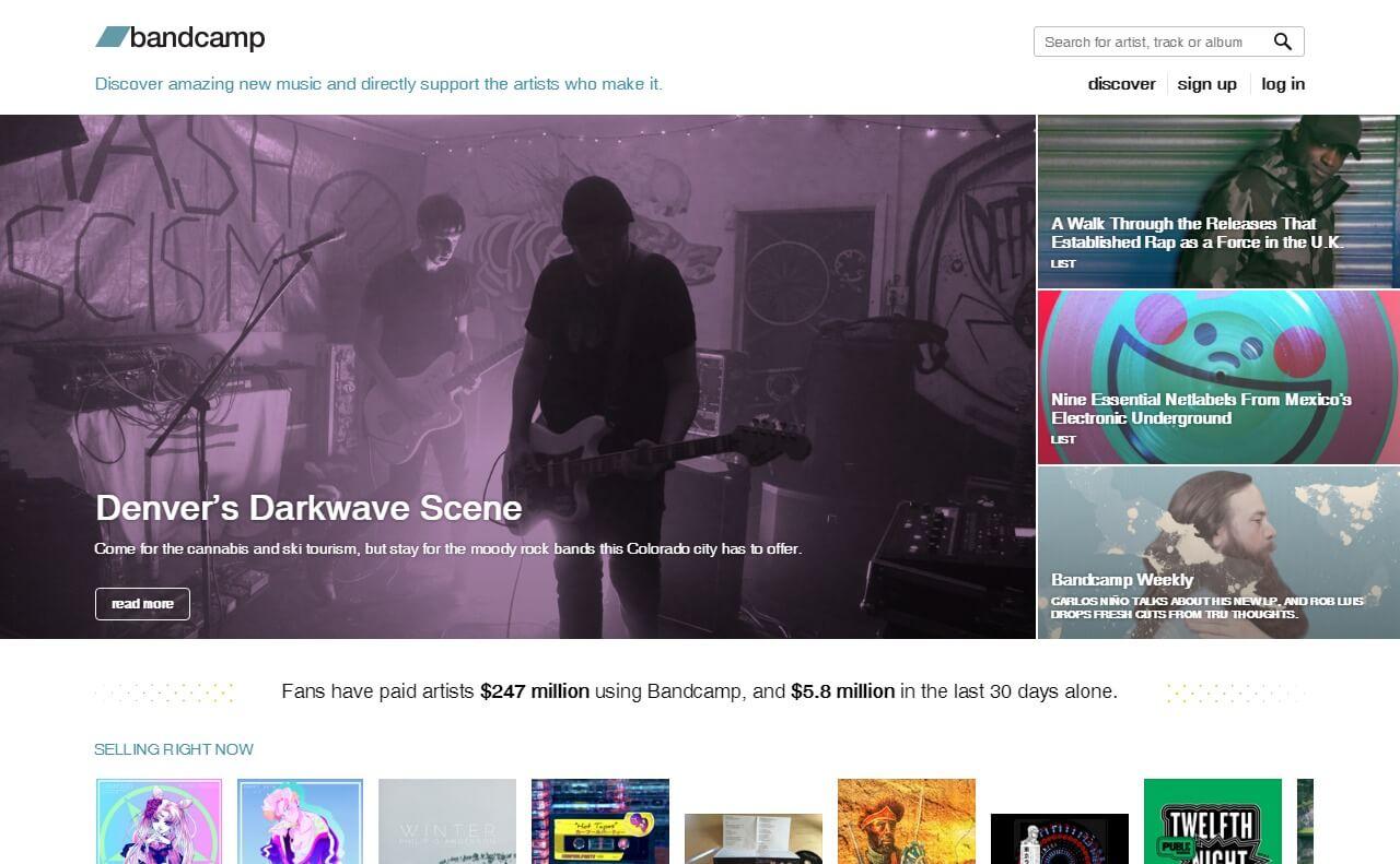 BandcampのWEBデザイン