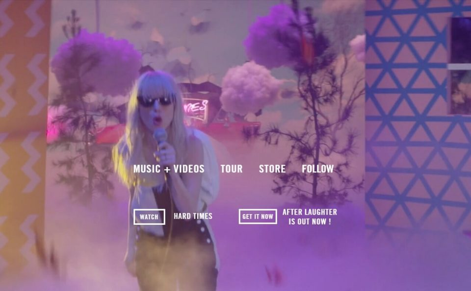 Paramore – New album After Laughter available now. – music, videos, and tourのWEBデザイン