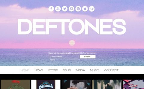 Deftones Official Site Official Website News, Store, Tour, Media, Music, ConnectのWEBデザイン