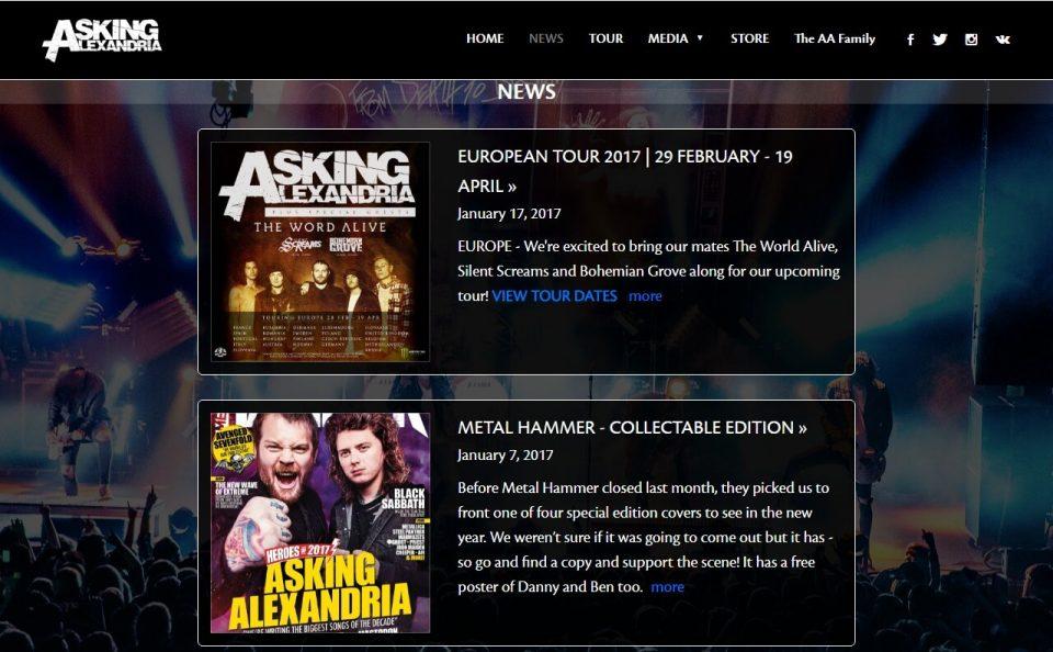 Asking AlexandriaのWEBデザイン