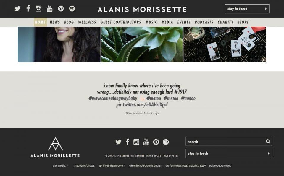 Alanis Morissette – Official WebsiteのWEBデザイン