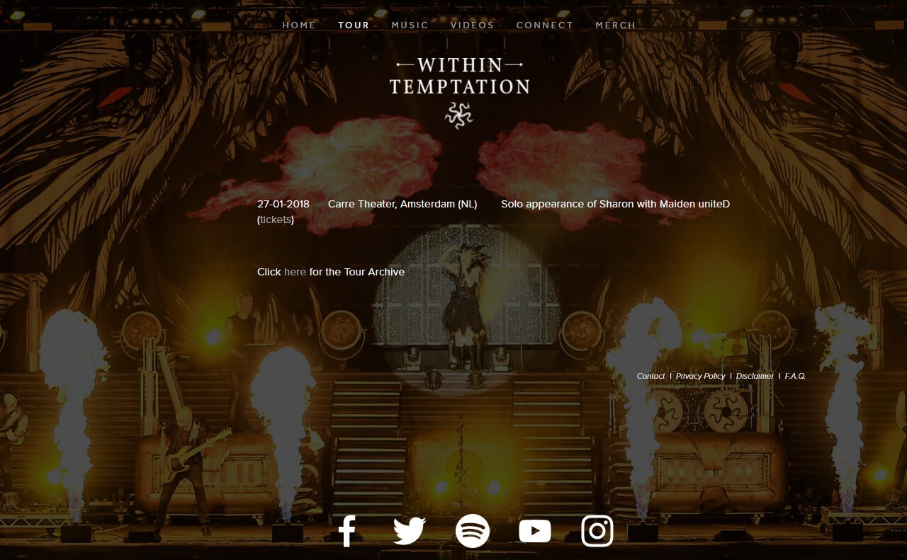 Within TemptationのWEBデザイン
