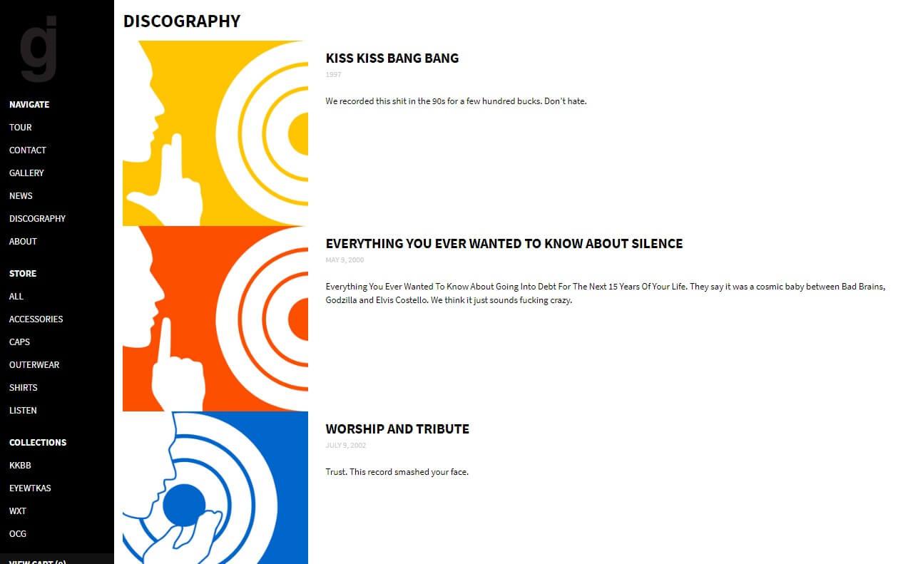 GlassjawのWEBデザイン
