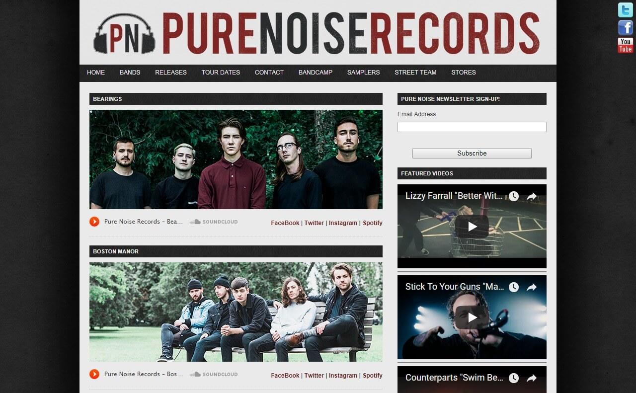 Pure Noise RecordsのWEBデザイン