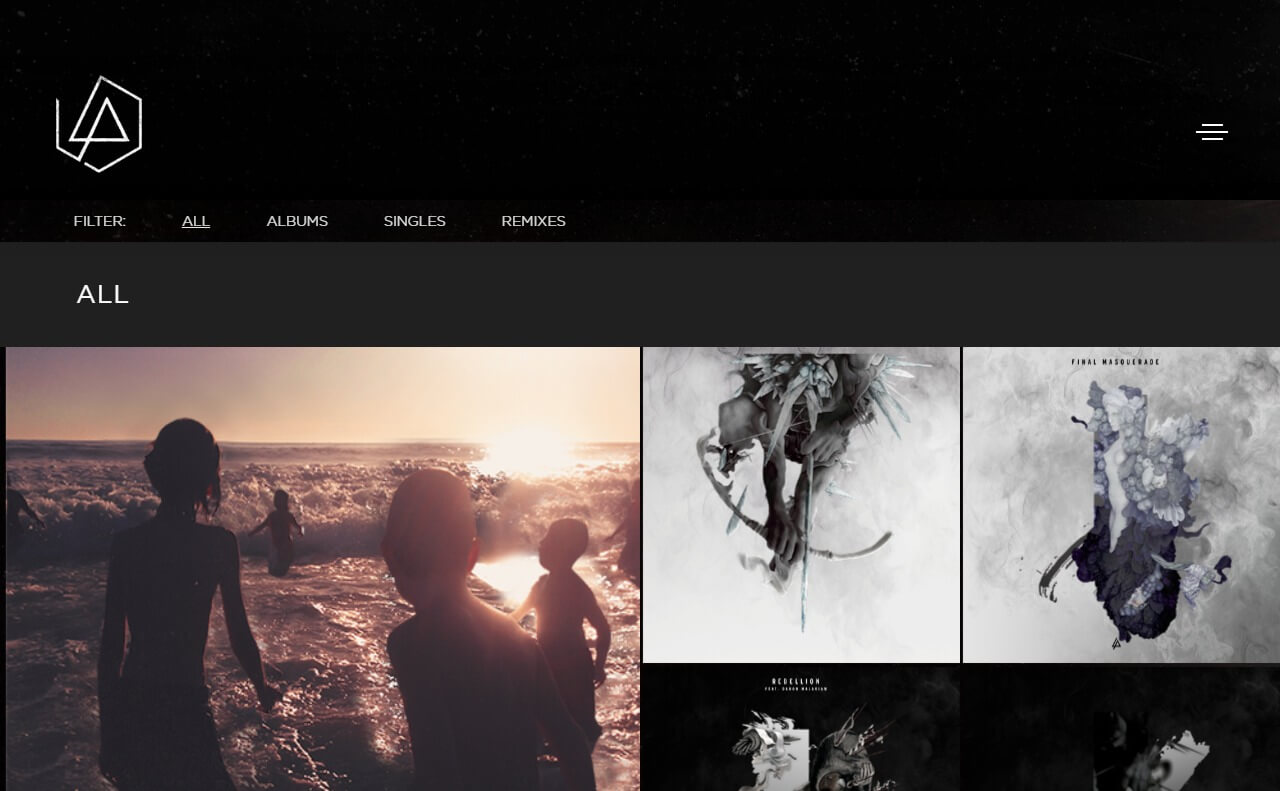 Linkin ParkのWEBデザイン