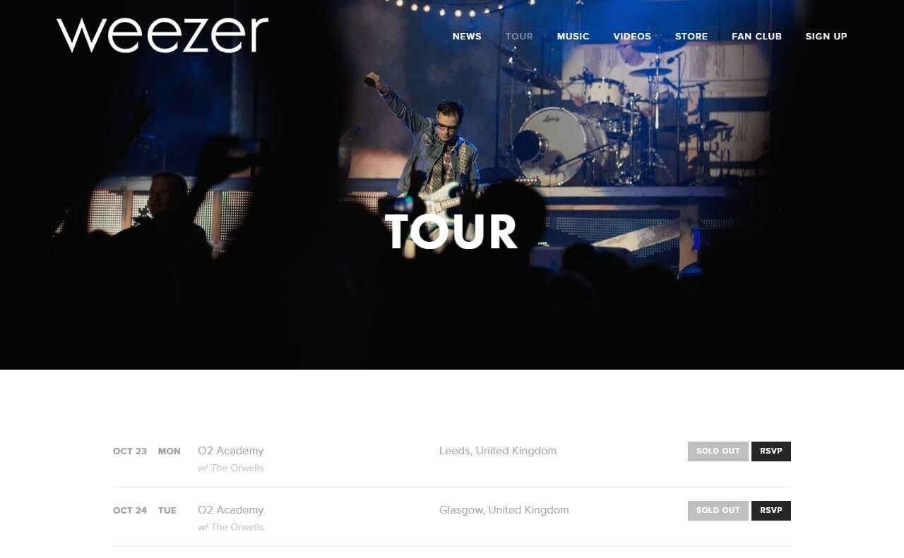 WeezerのWEBデザイン