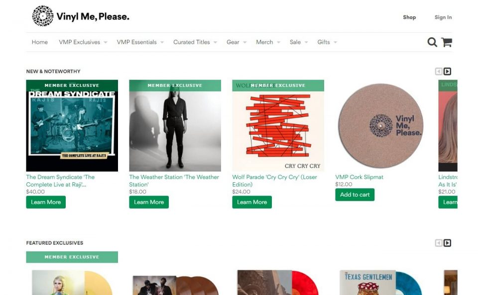 Vinyl Me, Please. The best damn record club.のWEBデザイン