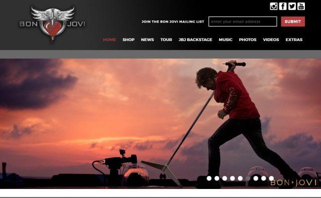 BonJovi.com – The official site of Bon JoviのWEBデザイン