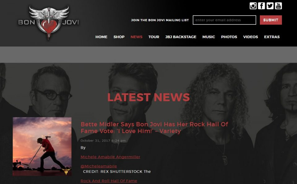 BonJovi.com – The official site of Bon JoviのWEBデザイン