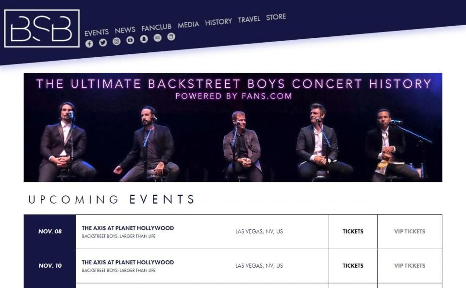 Backstreet BoysのWEBデザイン