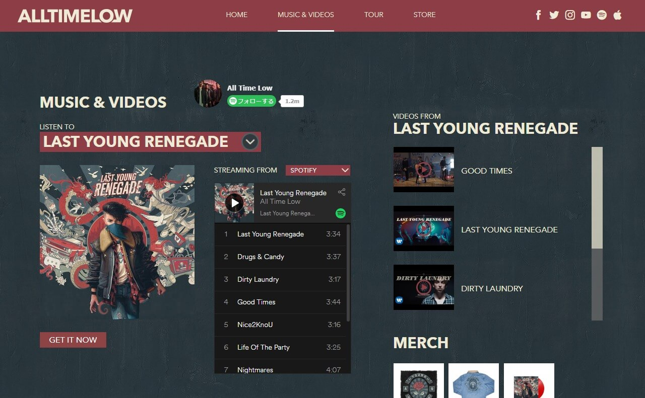 All Time Low | Official Website: New Album Last Young Renegade Available Now – Check out All Time Low On Tour. Music. Videos, and Photos.のWEBデザイン