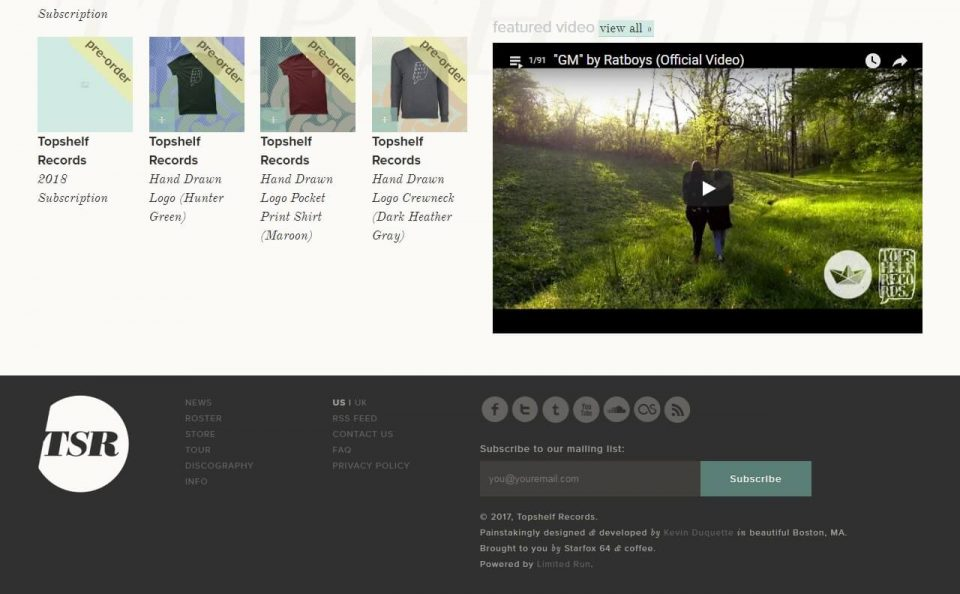 Topshelf Records — HomeのWEBデザイン