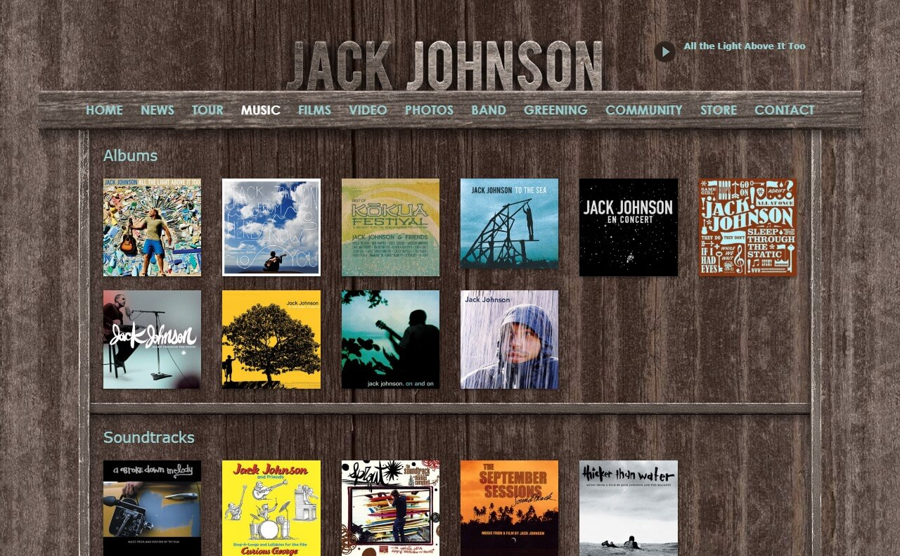 Home – Jack Johnson MusicのWEBデザイン