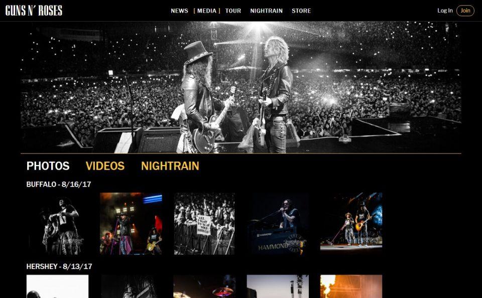 Guns N' Roses > HomeのWEBデザイン
