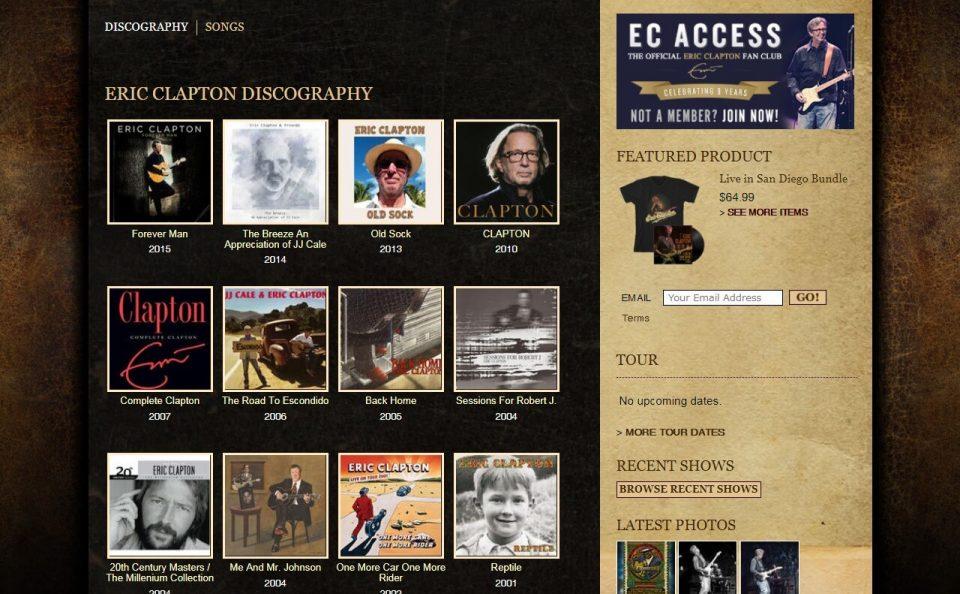 Eric ClaptonのWEBデザイン