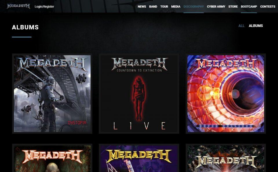 MegadethのWEBデザイン