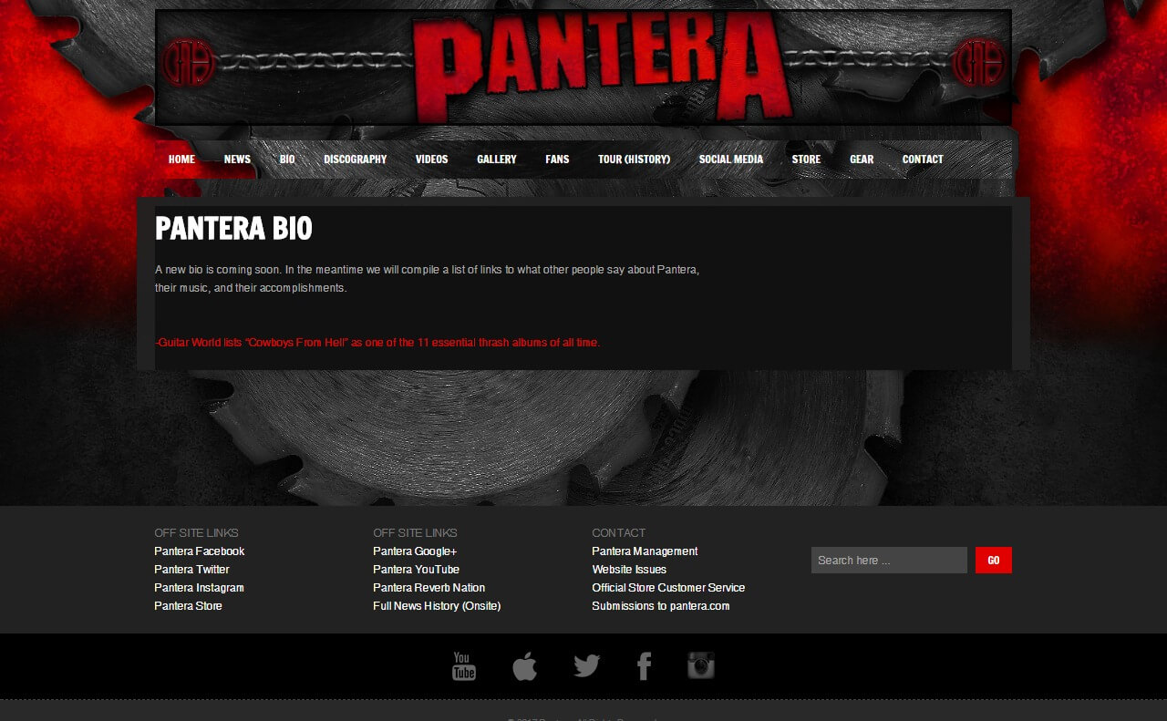 Pantera – Cowboys From HellのWEBデザイン