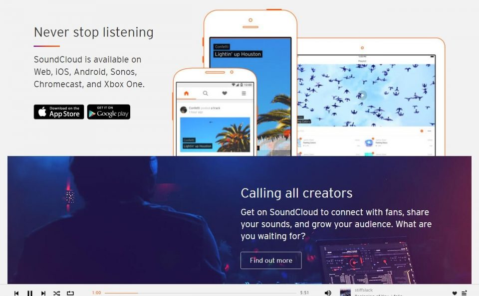 SoundCloud – Listen to free music and podcasts on SoundCloudのWEBデザイン