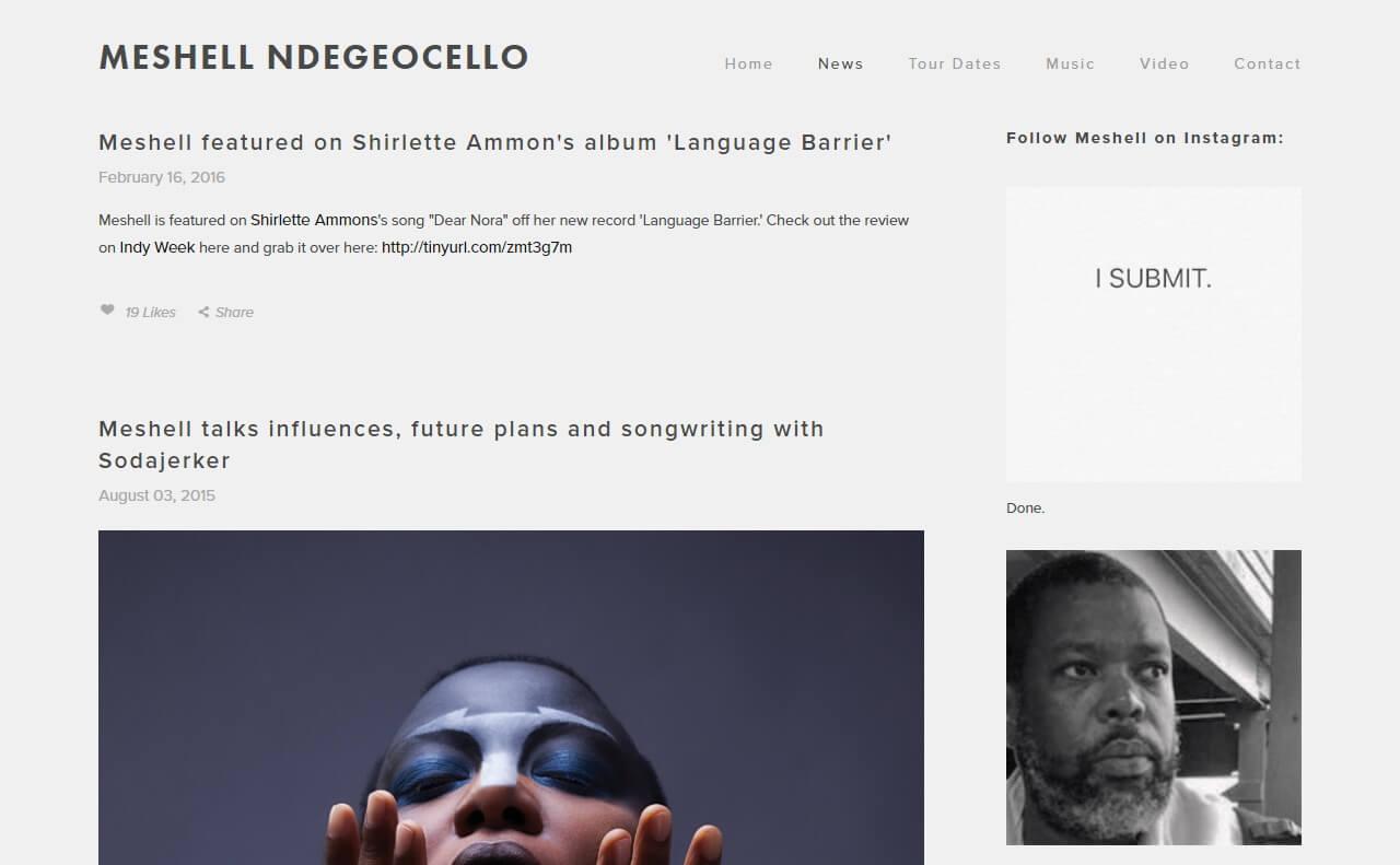 Meshell NdegeocelloのWEBデザイン