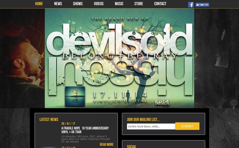 Devil Sold His Soul – Official WebsiteのWEBデザイン
