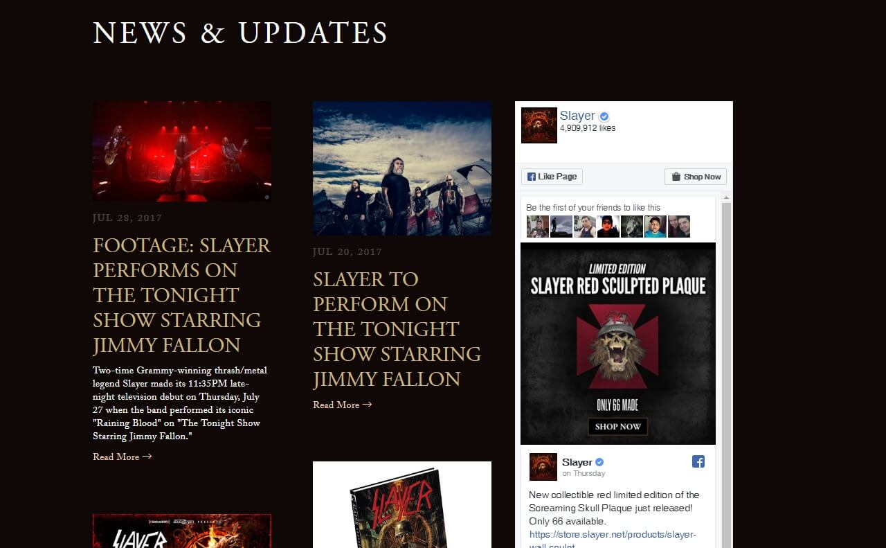 Slayer – Repentless   The Official Slayer SiteのWEBデザイン