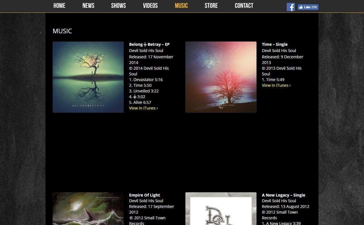 Devil Sold His Soul – Official WebsiteのWEBデザイン