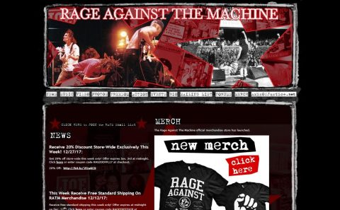 Home – Rage Against The Machine Official SiteのWEBデザイン