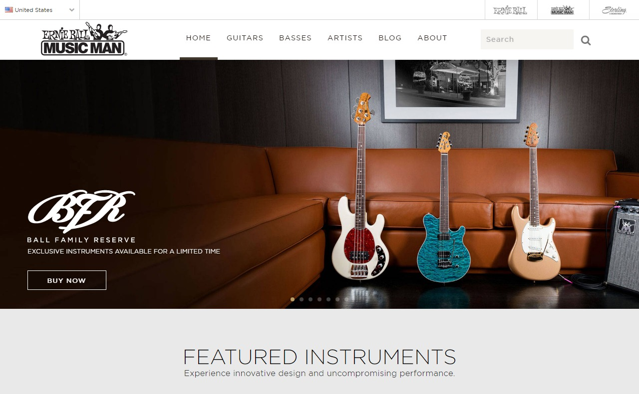 Home | Ernie Ball Music ManのWEBデザイン