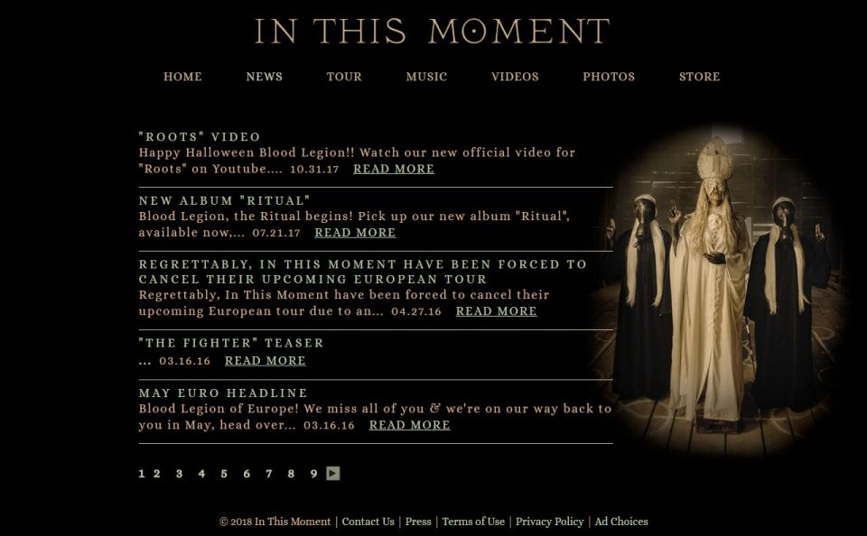 In This Moment Official WebsiteのWEBデザイン