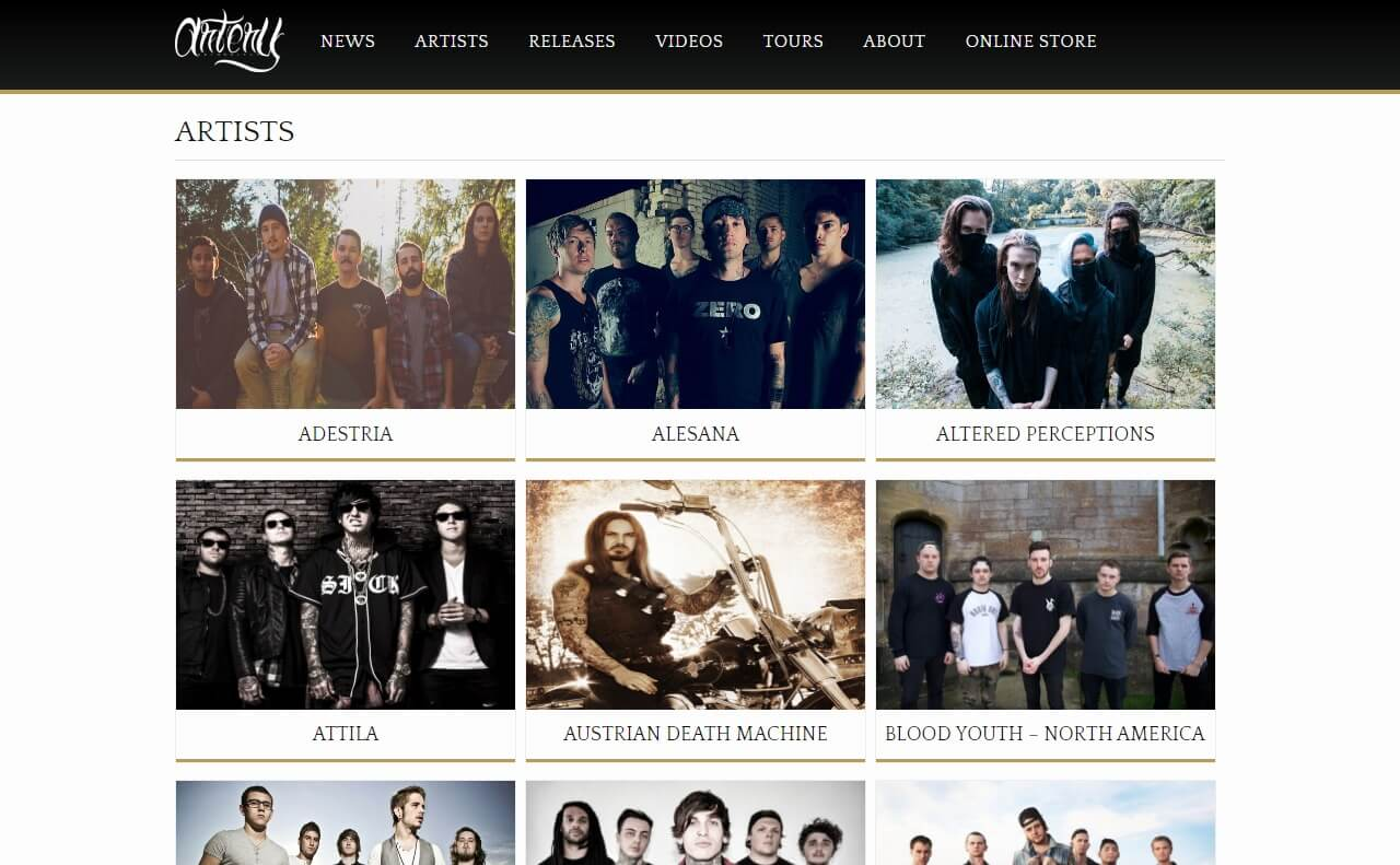 Artery Recordings | The official site of Artery RecordingsのWEBデザイン