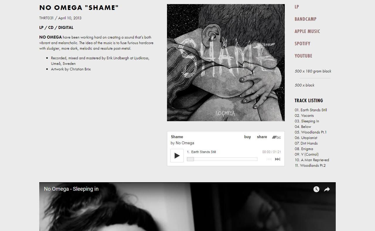 Throatruiner RecordsのWEBデザイン