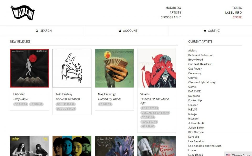 Matador RecordsのWEBデザイン
