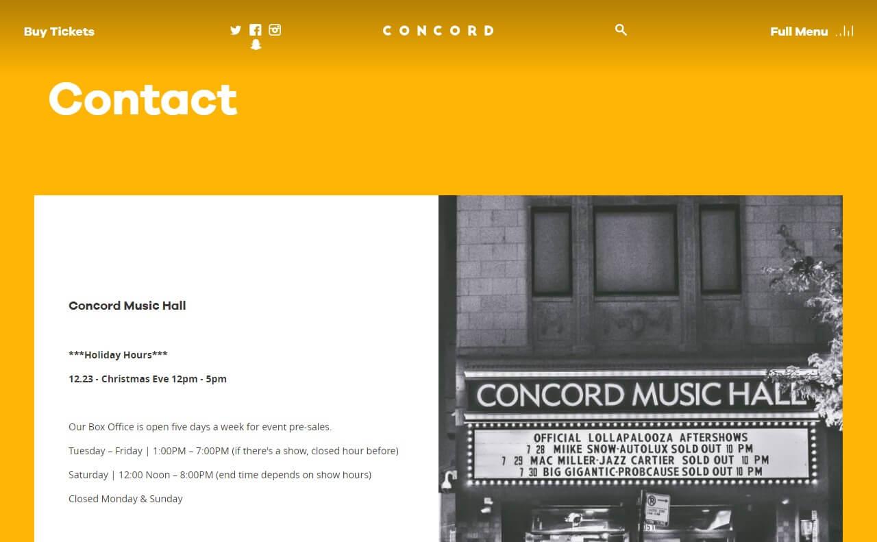 Concord Music HallのWEBデザイン