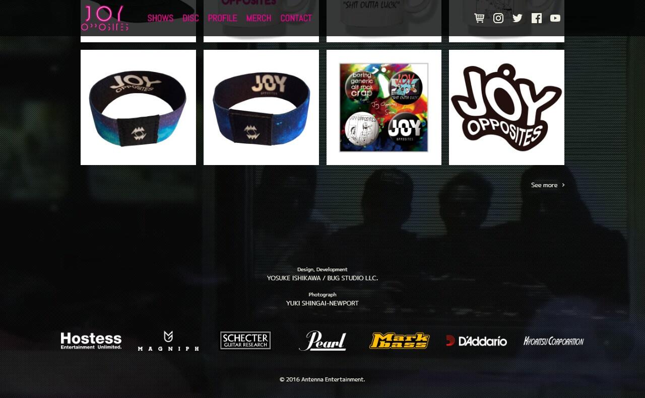 Joy OppositesのWEBデザイン