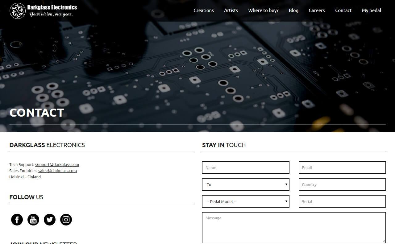 Darkglass ElectronicsのWEBデザイン