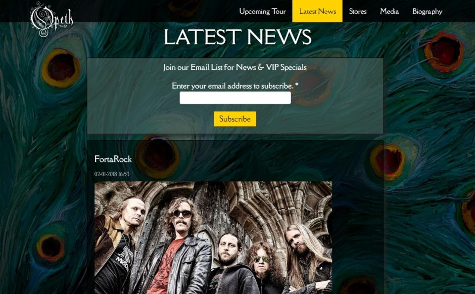 Opeth – Official Website | SORCERESS New Album OUT WORLDWIDE!のWEBデザイン