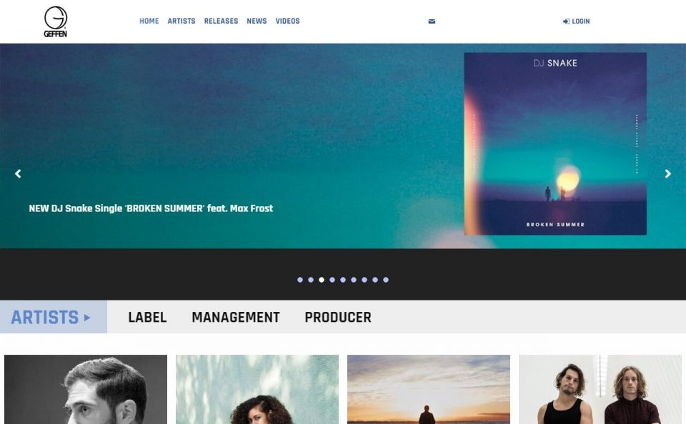 Geffen Records | Official SiteのWEBデザイン