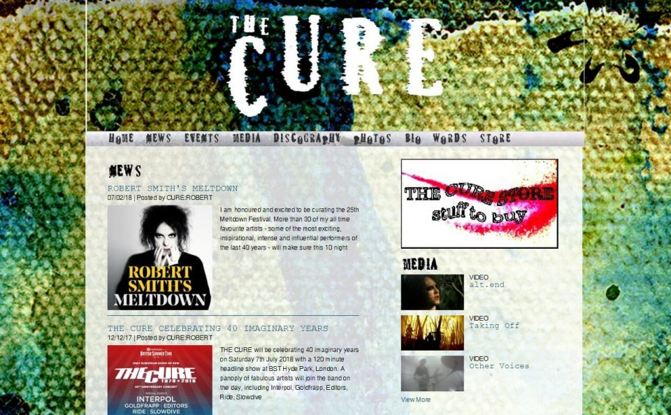 The Cure : Official Site : HomeのWEBデザイン