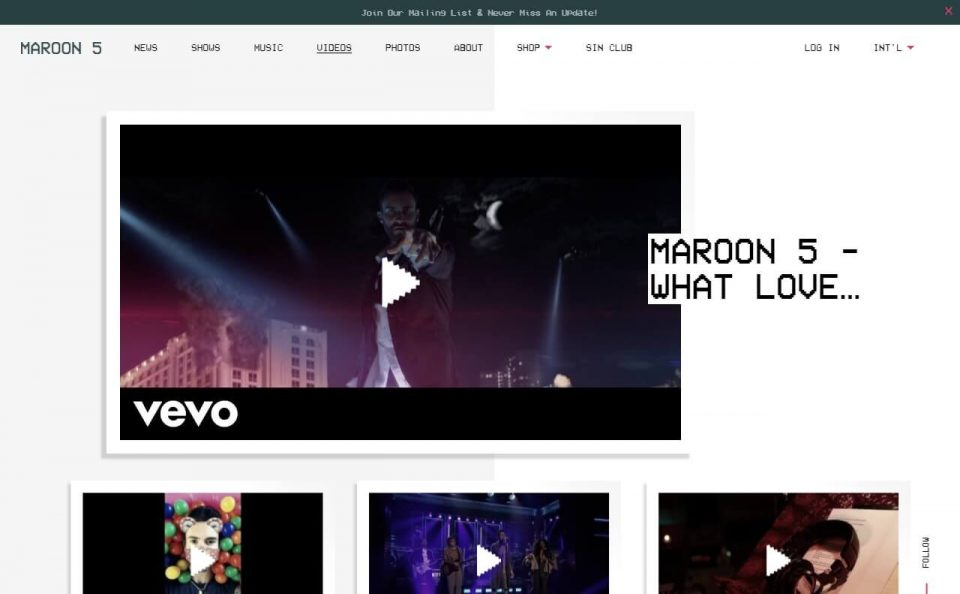 Maroon 5 | Red Pill Blues TourのWEBデザイン