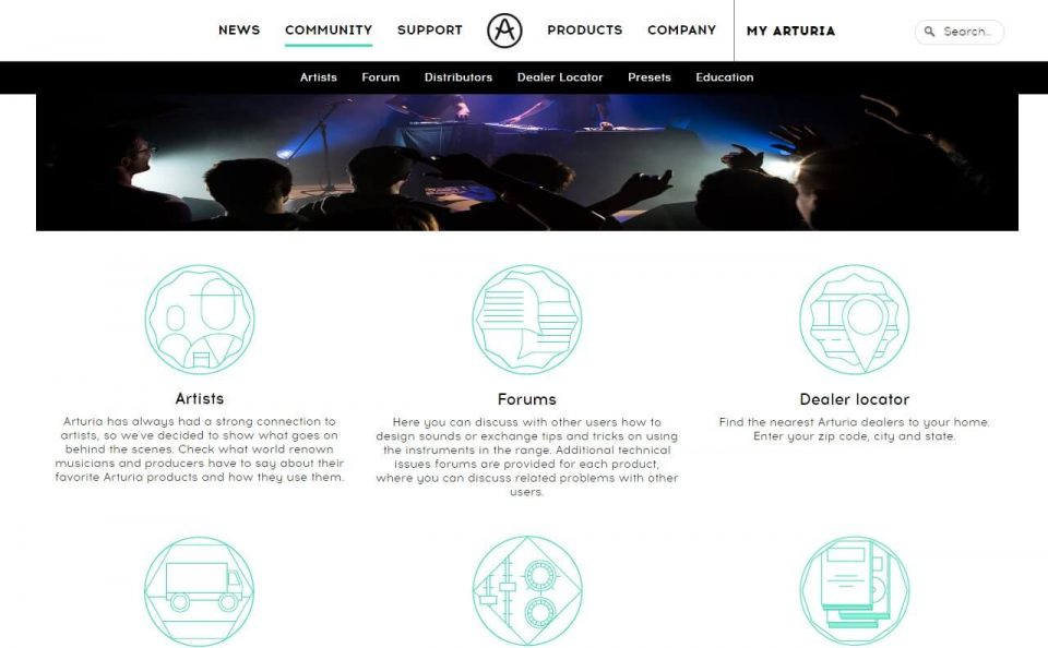 Arturia – HomeのWEBデザイン