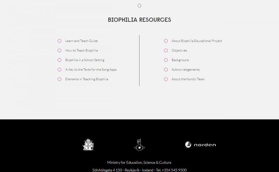 Biophilia Educational ProjectのWEBデザイン