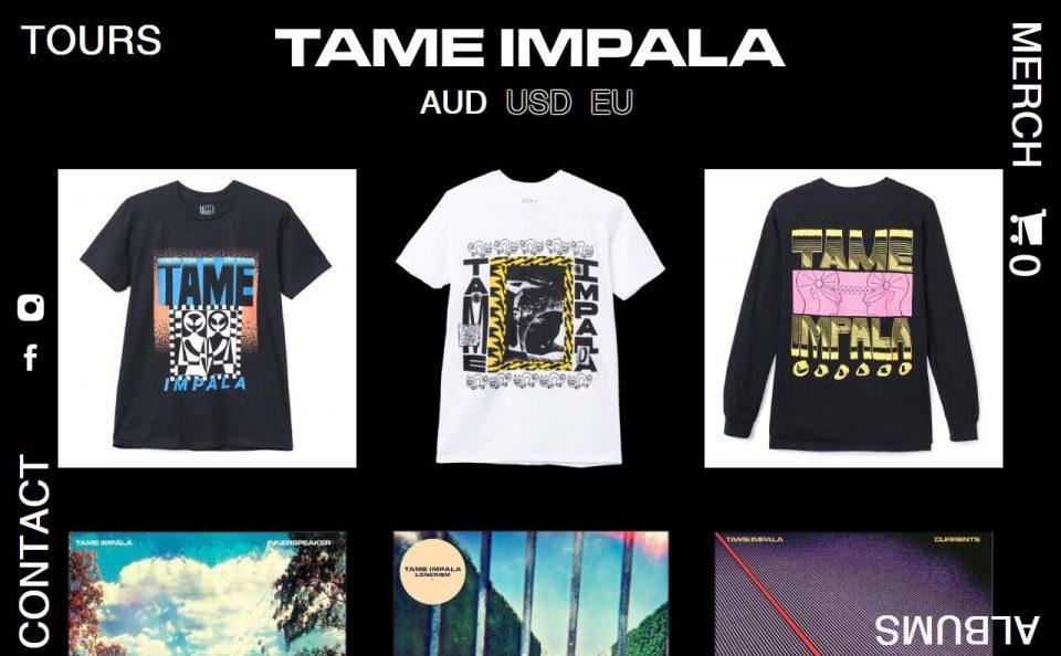 Tame Impala – Tame Impala AUのWEBデザイン
