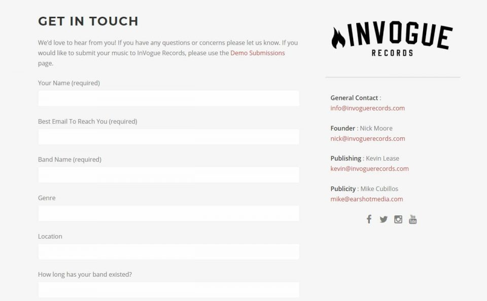 InVogue Records | Independent Record LabelのWEBデザイン