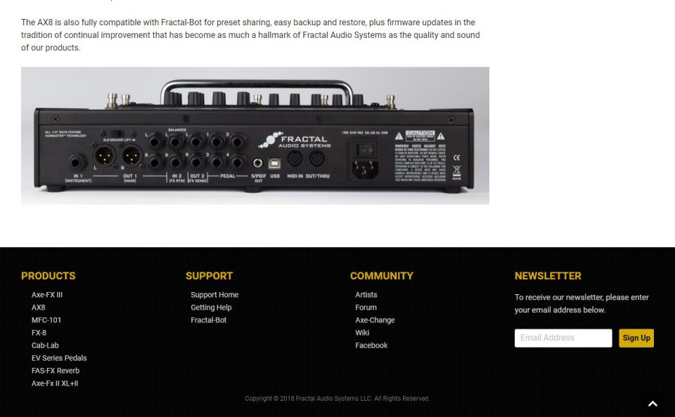 Fractal Audio Systems – Amp Modeling and Effects Processor TechnologyのWEBデザイン