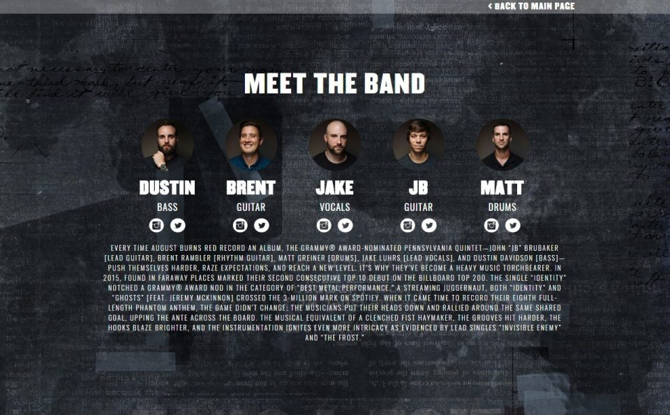 AUGUST BURNS RED – The Official WebsiteのWEBデザイン