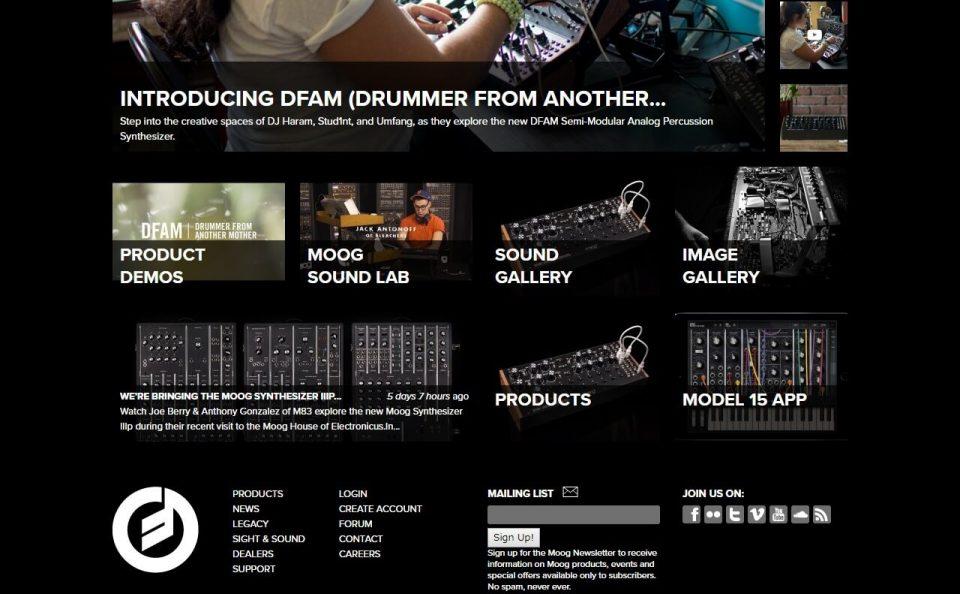 Moog Music IncのWEBデザイン