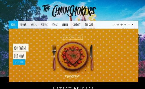 The Chainsmokers  – HomeのWEBデザイン