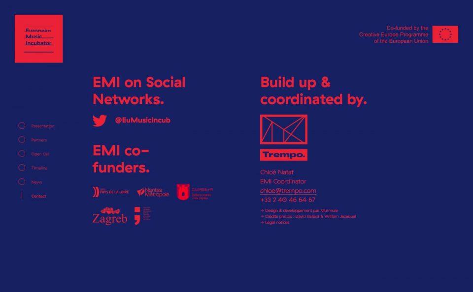 European Music IncubatorのWEBデザイン